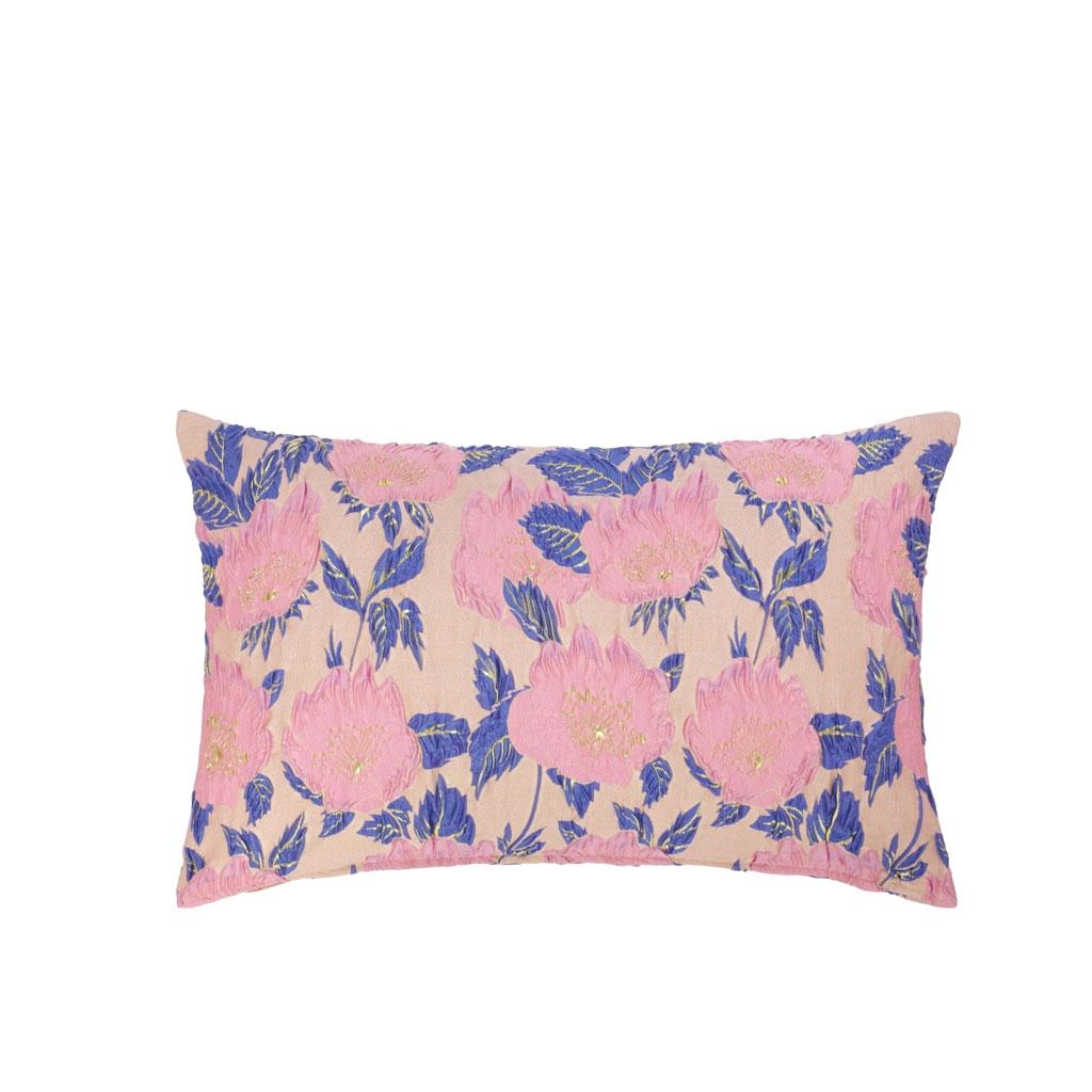 Pude med lillarosa blomster, 40x60cm/50x50cm