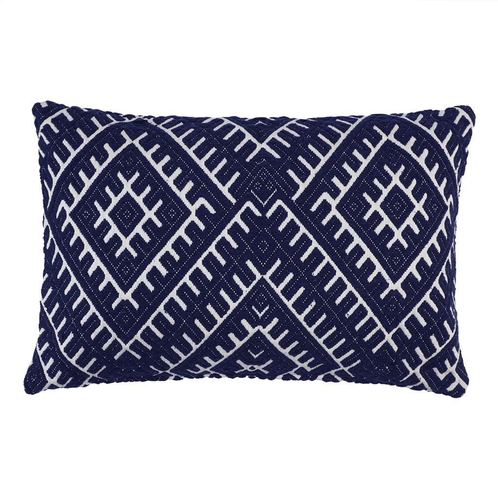 Pude, mørkeblåt vævet mønster, 40x60cm