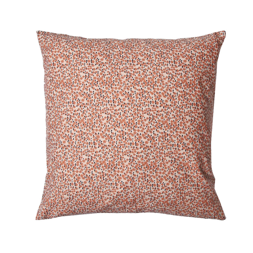 Pude, Cremefarvet med rosa blomster, 45X45cm
