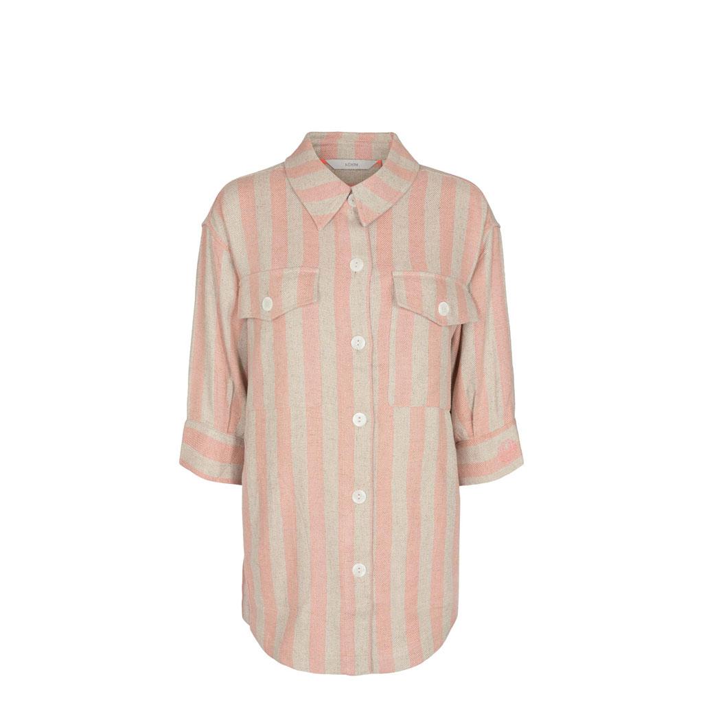 Skjorte/jakke i hør/bomuld, stribet, Nümph