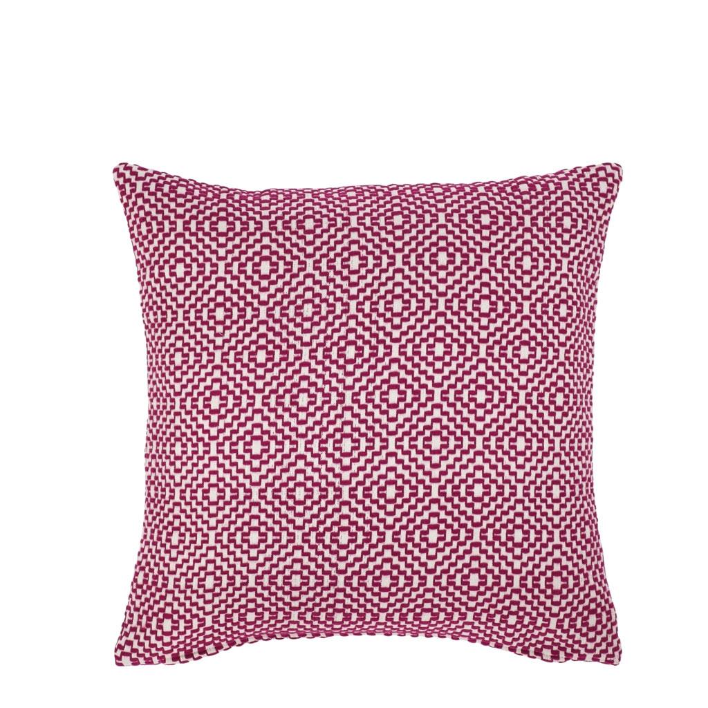 Pude, Rødbedefarvet vævet mønster, 50x50cm