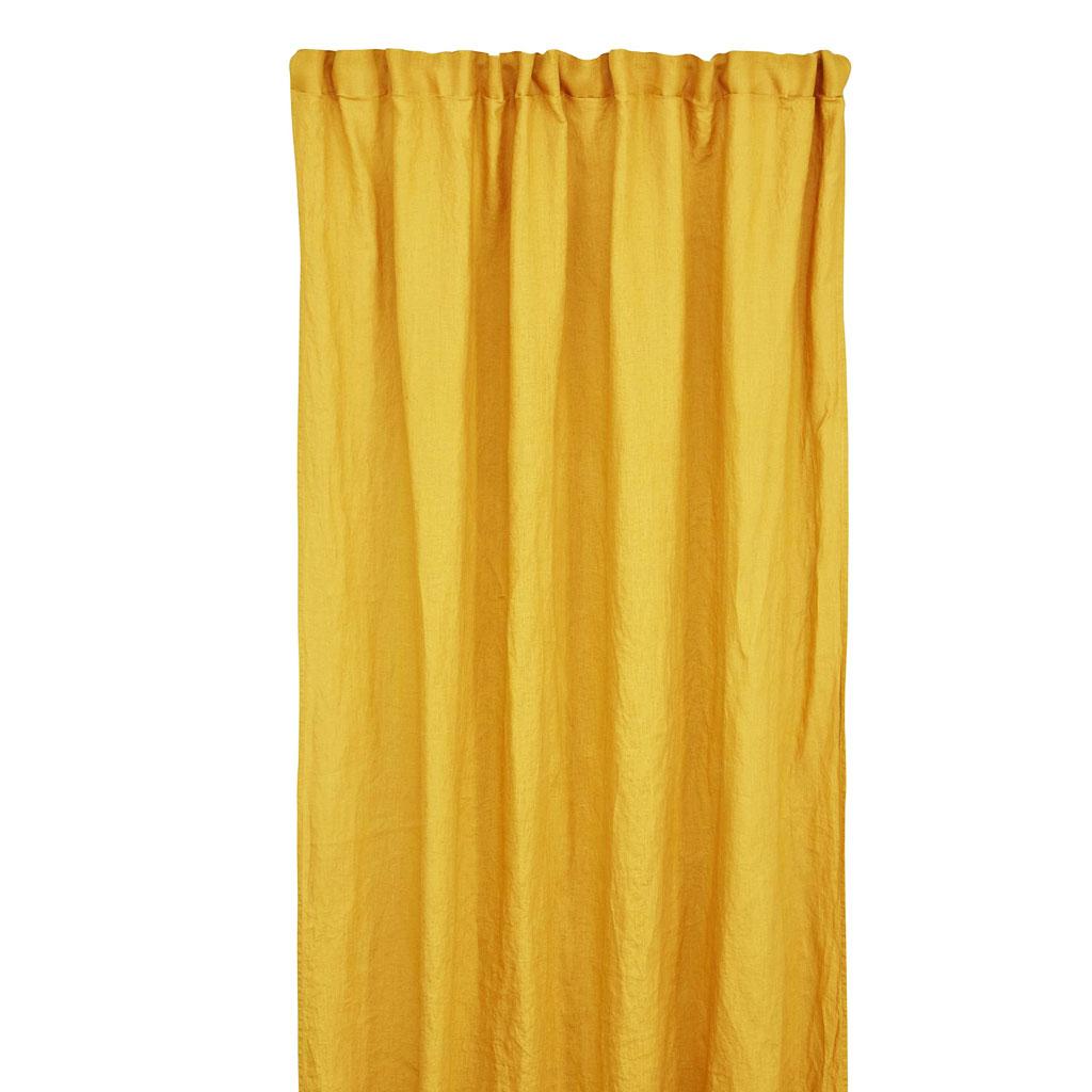 Gardinlængde hør 140x240/300cm Mustard
