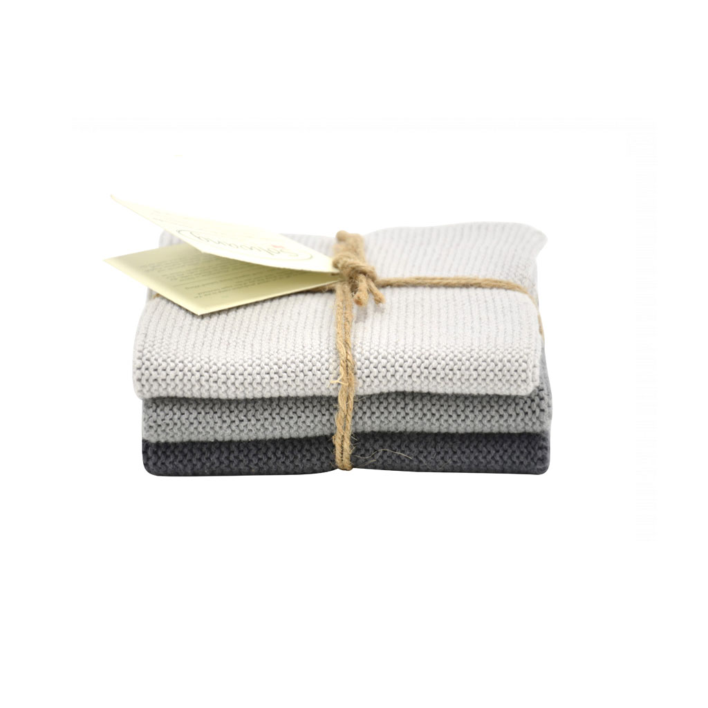 Strikket karklud 3-pak, Stålgrå kombi
