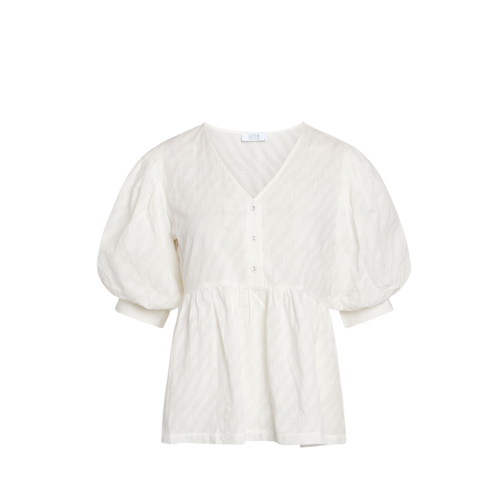 Bluse med knapper og pufærme, Love & Divine