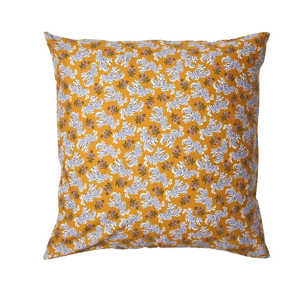 Pude, Sennepsfarvet med små blomster, 45X45cm