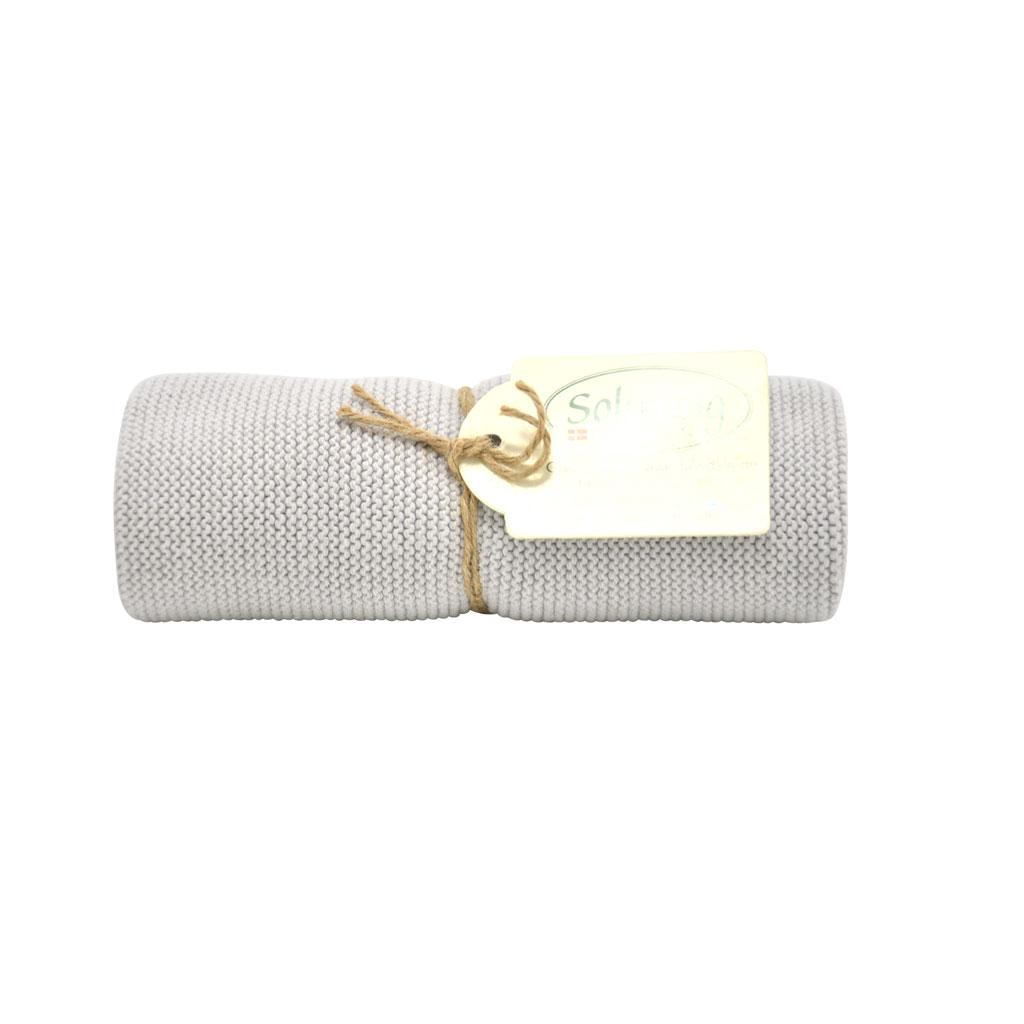 Strikket håndklæde 32x47cm, Lys grå