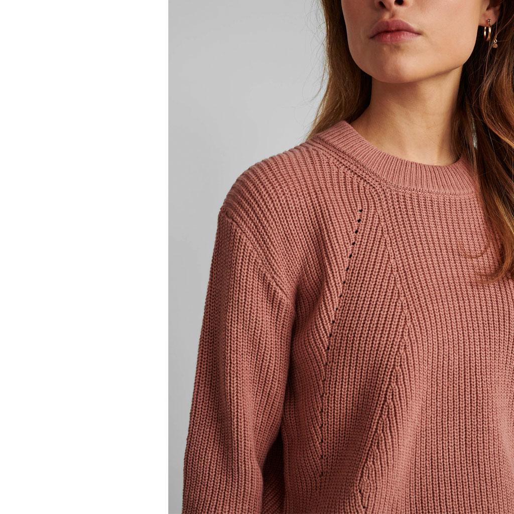 Strikket trøje, støvet pink, Nümph