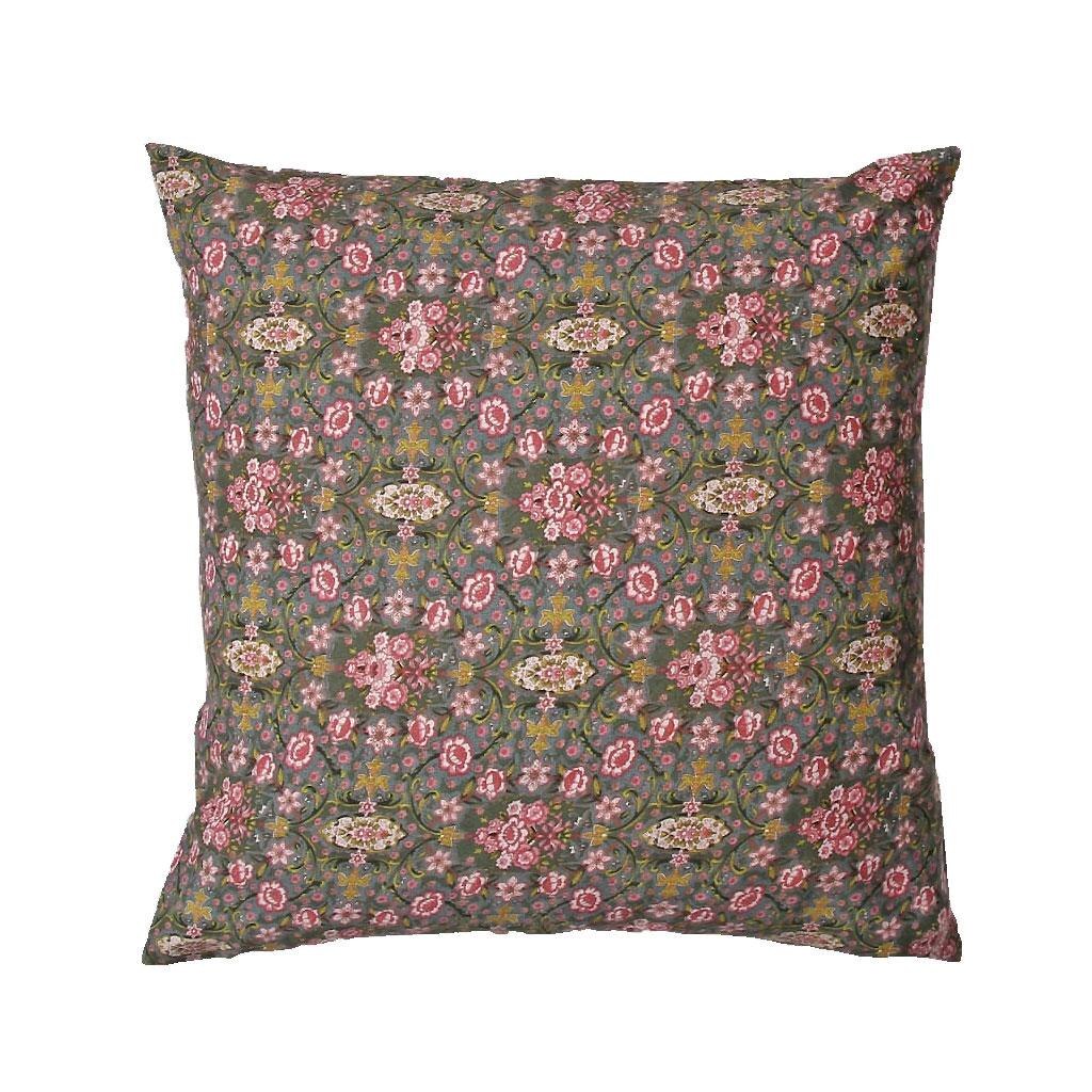 Pude, Grøn med rosa blomster, 45X45cm