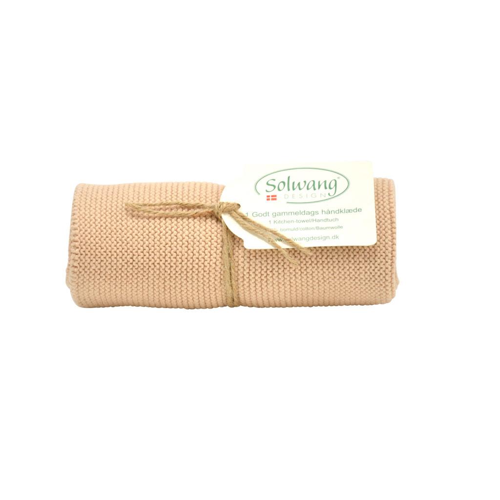 Strikket håndklæde 32x47cm, Nougat