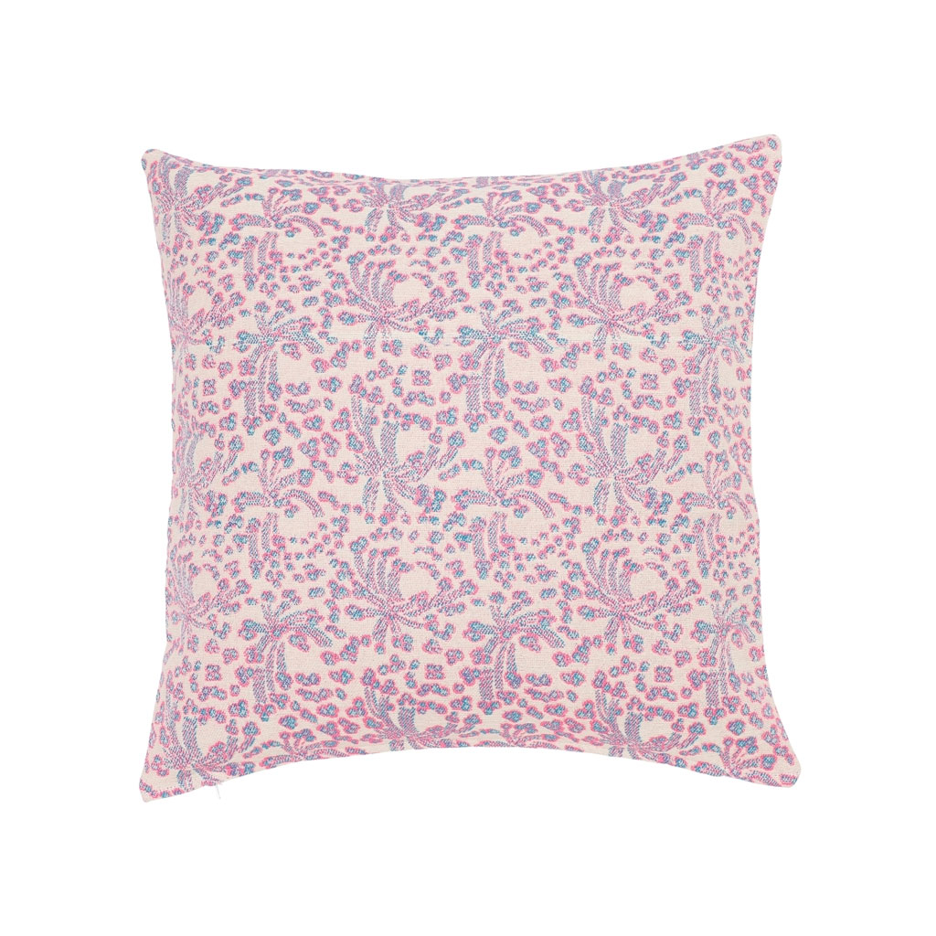 Pude Blårosa blomstermønster 65x65cm