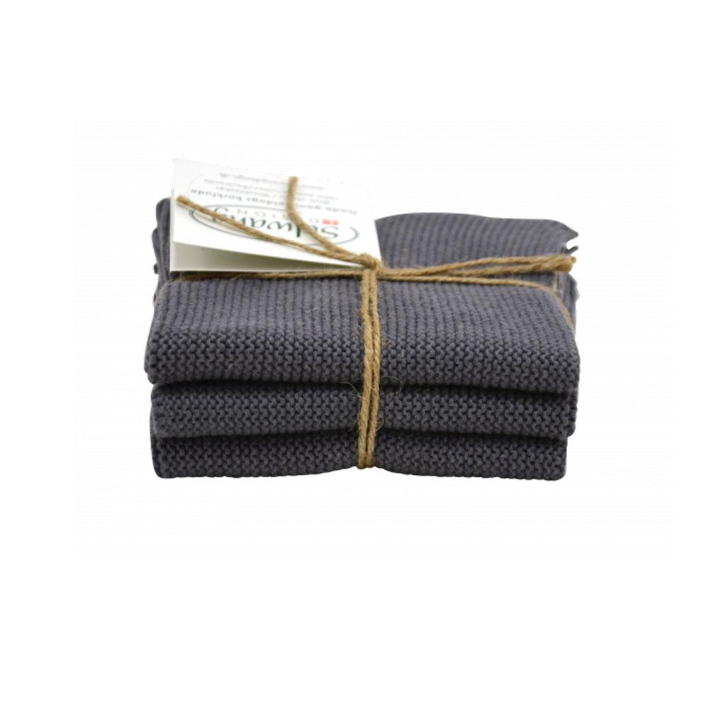 Strikket karklud 3-pak, mørk grå