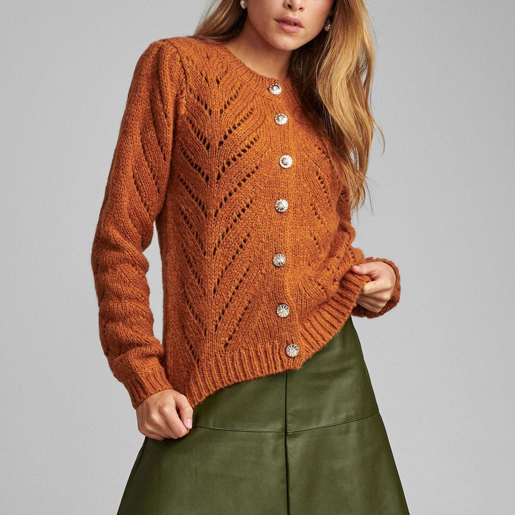 Strikket cardigan med brilliantknappe, rustfarvet, Nümph
