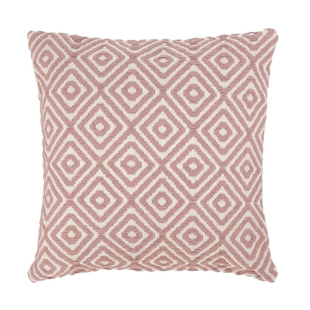 Pude, Støvet pink vævet mønster, 65x65cm