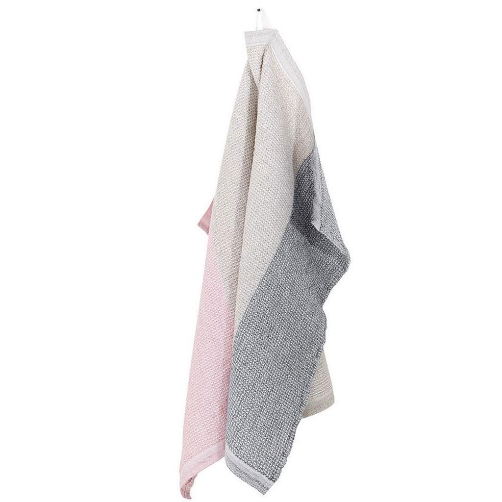 Håndklæde Terva, Stribet hvid/multi/rosa