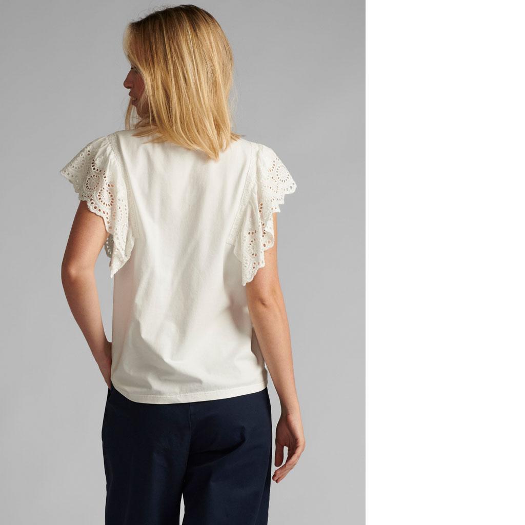 T-shirt, hvid med blondekant, Nümph