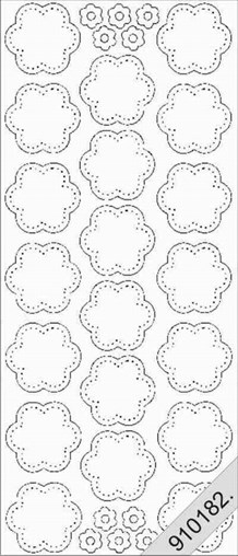 Stickers_Blomster. Trans med guld kant
