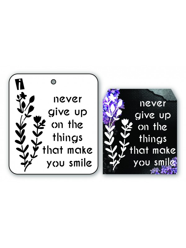 "IC8915 4""x4"" Stencil Never Give Up"