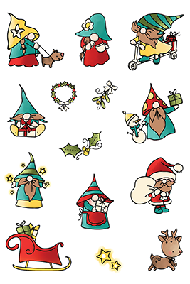 LDRS Creative Holiday Gnomes Set Clear Stamps (LDRSPD224)
