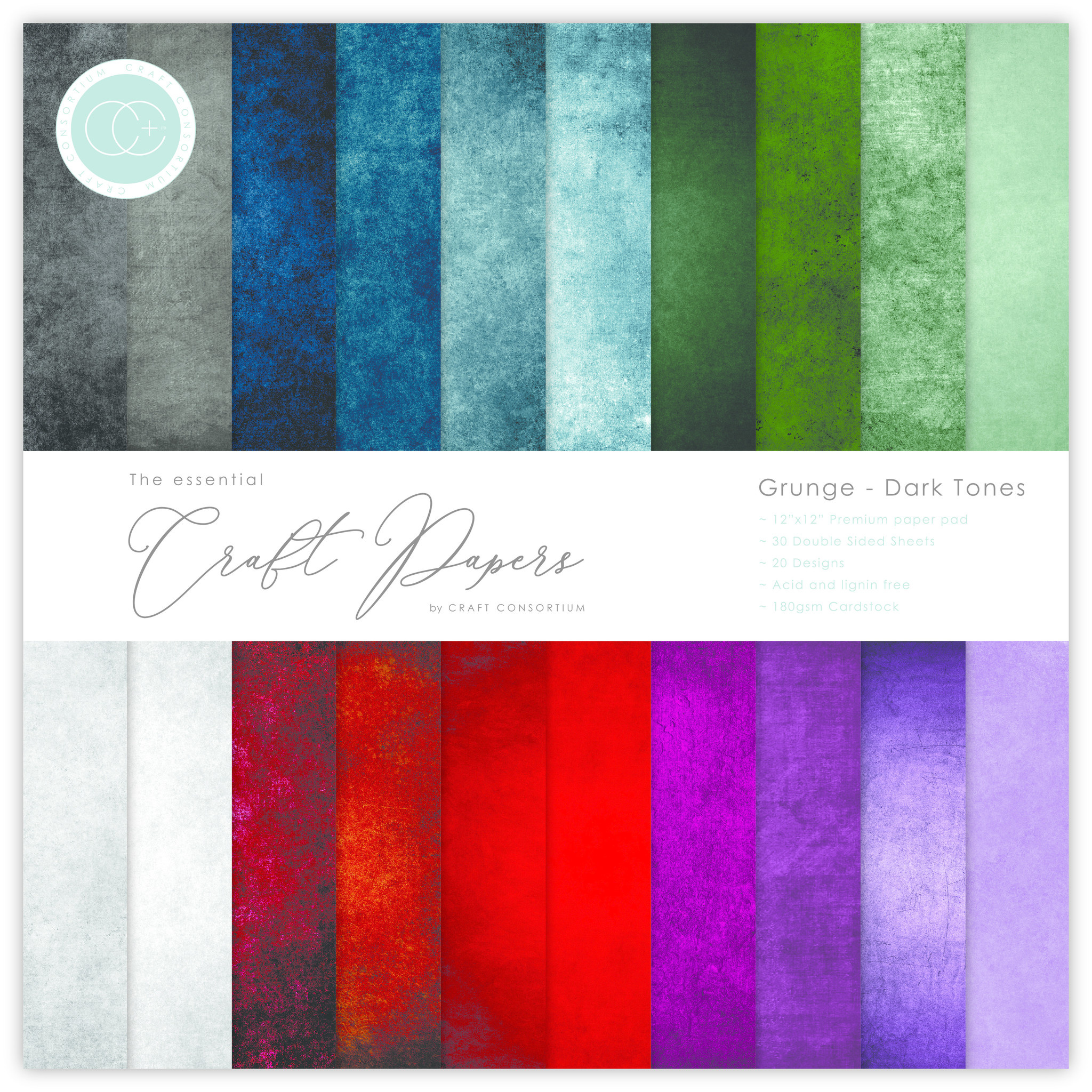 CCEPAD007B The Essential Craft Papers 6x6 Grunge - Dark Tones