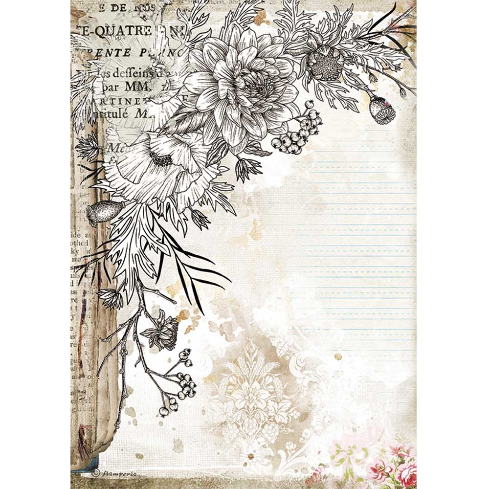 Stamperia Rice Paper A4 Romantic Journal Stylized Flower (DFSA4553)