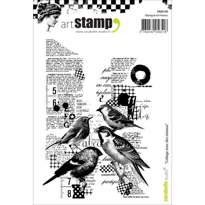 SA60140 Collage Avec Des Oiseaux