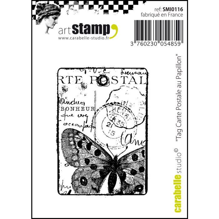 SMI0116 Stamp Tag Carte Postale Au Papillon