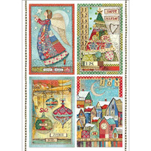 Stamperia Rice Paper A4 Patchwork Postcards (DFSA4408)
