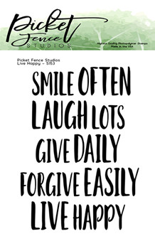 PFS Live Happy Clear Stamps (S-153)