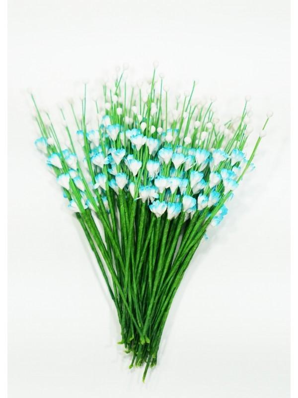ICMF12 Små Blomster Hvid og Turkis