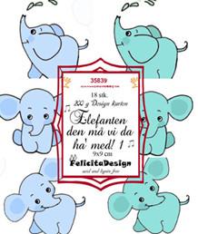 FelicitaDesign Toppers Blå/grøn elefant