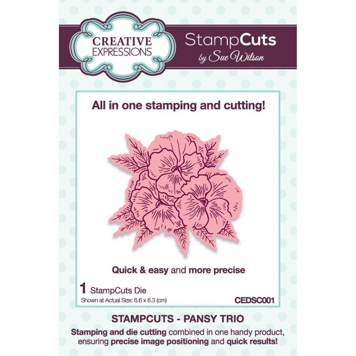 CE CEDSC001 Stampcuts Pansy trio