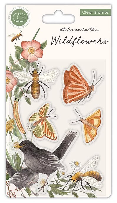 CCSTMP037 At home in the wildflowers - Bees & Butterflies - Clear Stamp Set