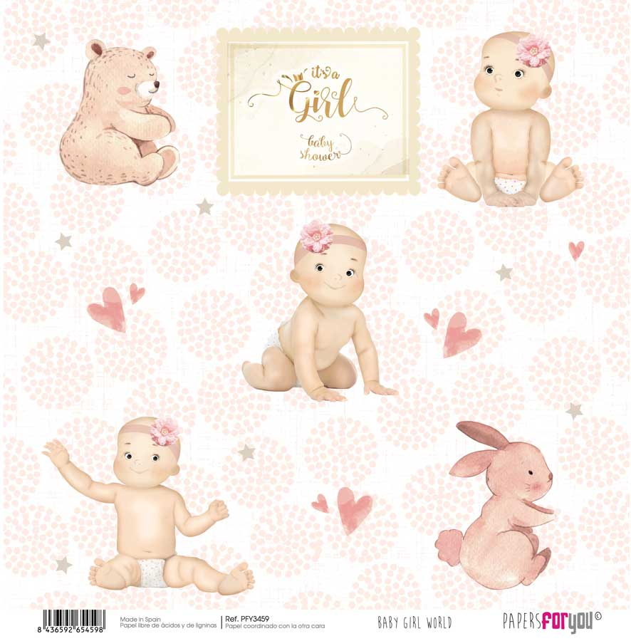PFY3459 PAPEL SCRAP BABY GIRL WORLD