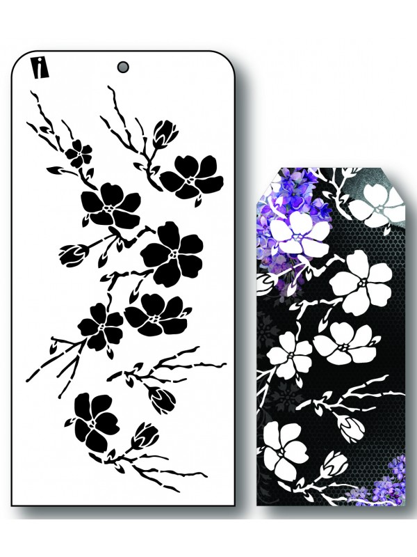 "IC8561 4""x8"" Stencil Grene med Blomster"