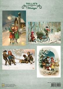 NS Motivark Vintage børn i sneen