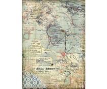 Stamperia Rice Paper A4 Maps (DFSA4457)