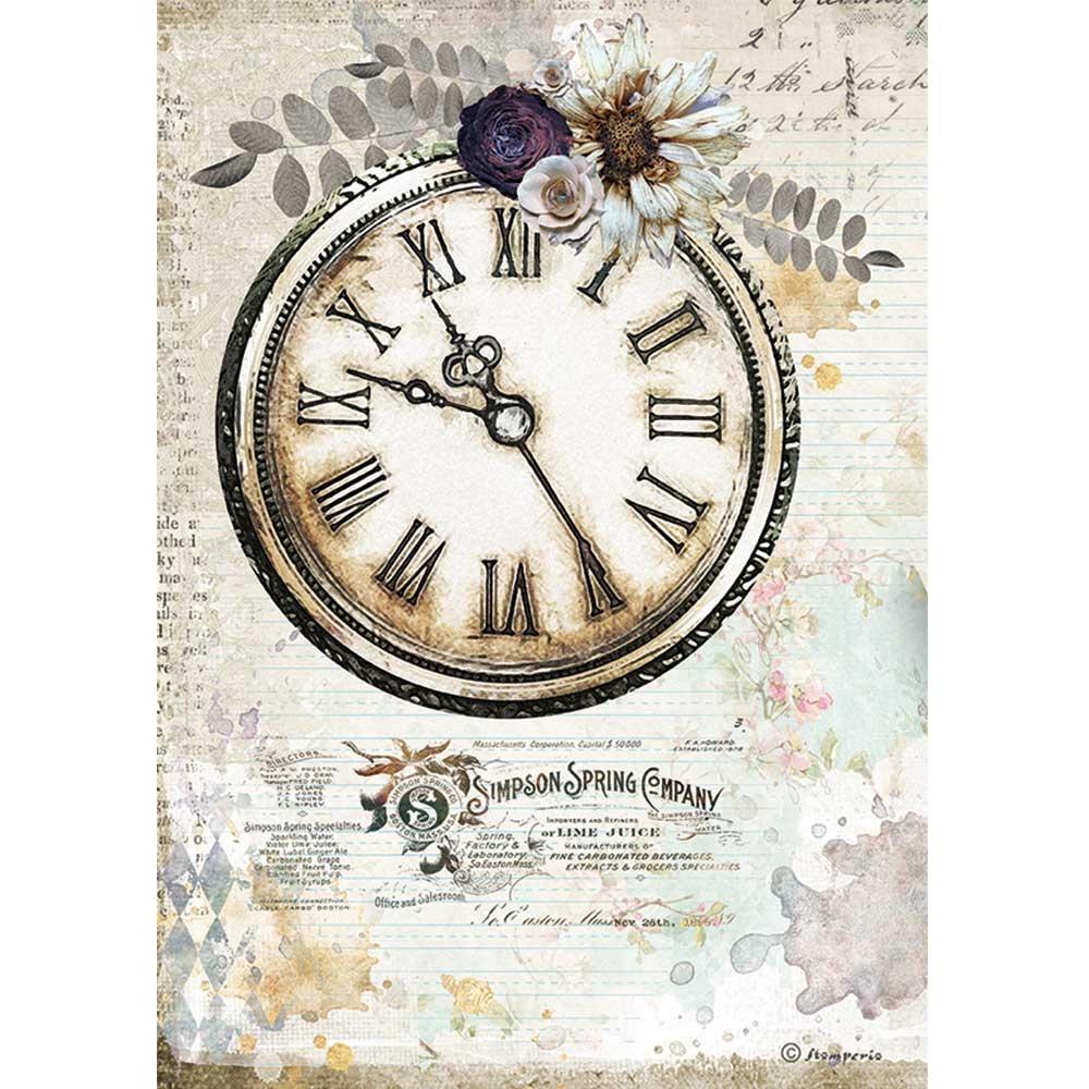 Stamperia Rice Paper A4 Romantic Journal Clock (DFSA4555)