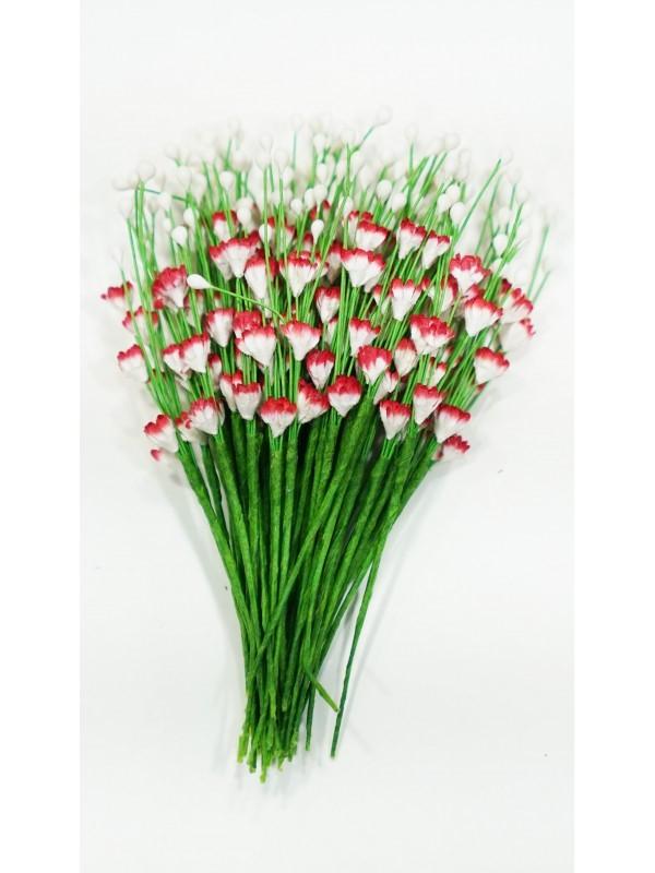 ICMF008 Små Blomster Hvid og Rød