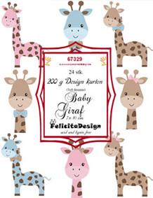 FelicitaDesign Toppers Giraf rosa/blå