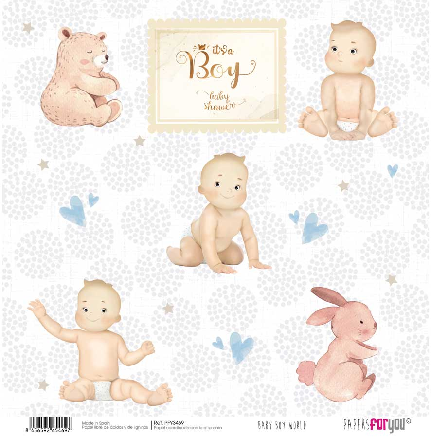 PFY3469 PAPEL SCRAP BABY BOY WORLD