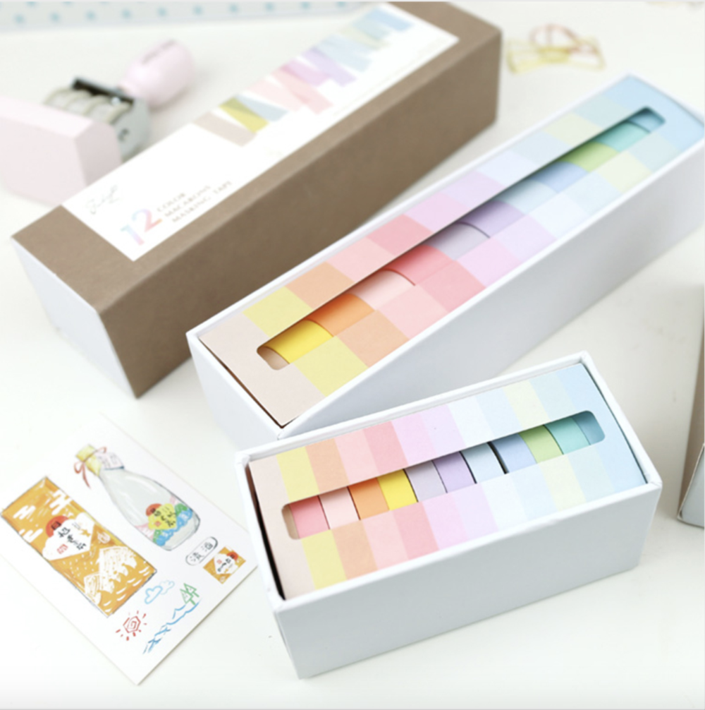 Washi Tape 12 Piece Macaron Solid Color