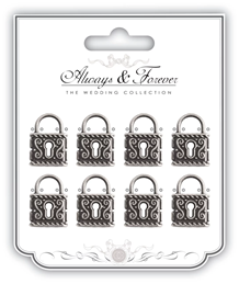 AFMCHRM012 CC Always & Forever - Vintage Silver Lock Charms