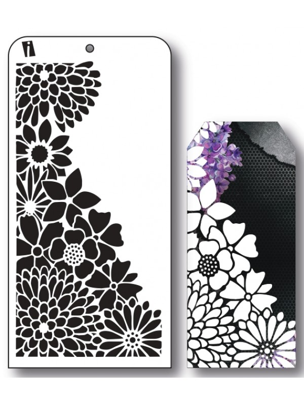 """IC8527 4""""x8"""" Stencil Blomster"""