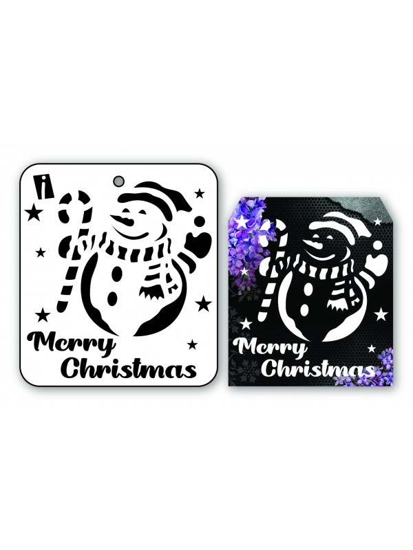 "IC8963 4""x4"" Stencil Snemand/ Merry Christmas"