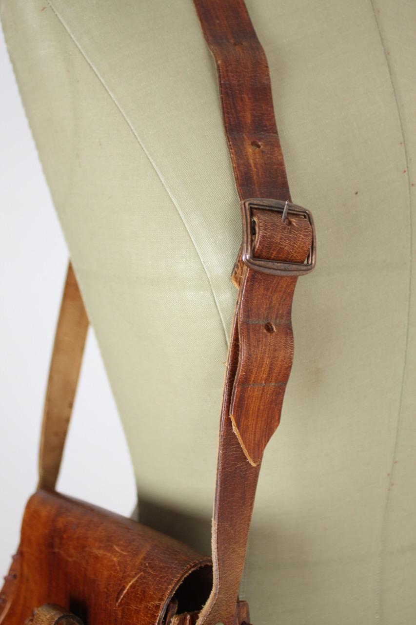 Sadelväska/axelremsväska vintage, brunt läder