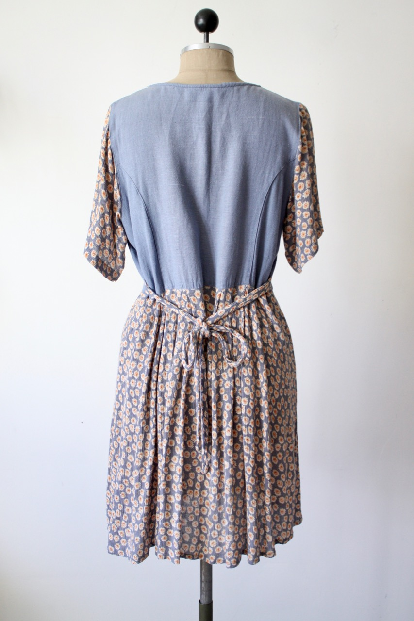 Retro blommig kort klänning