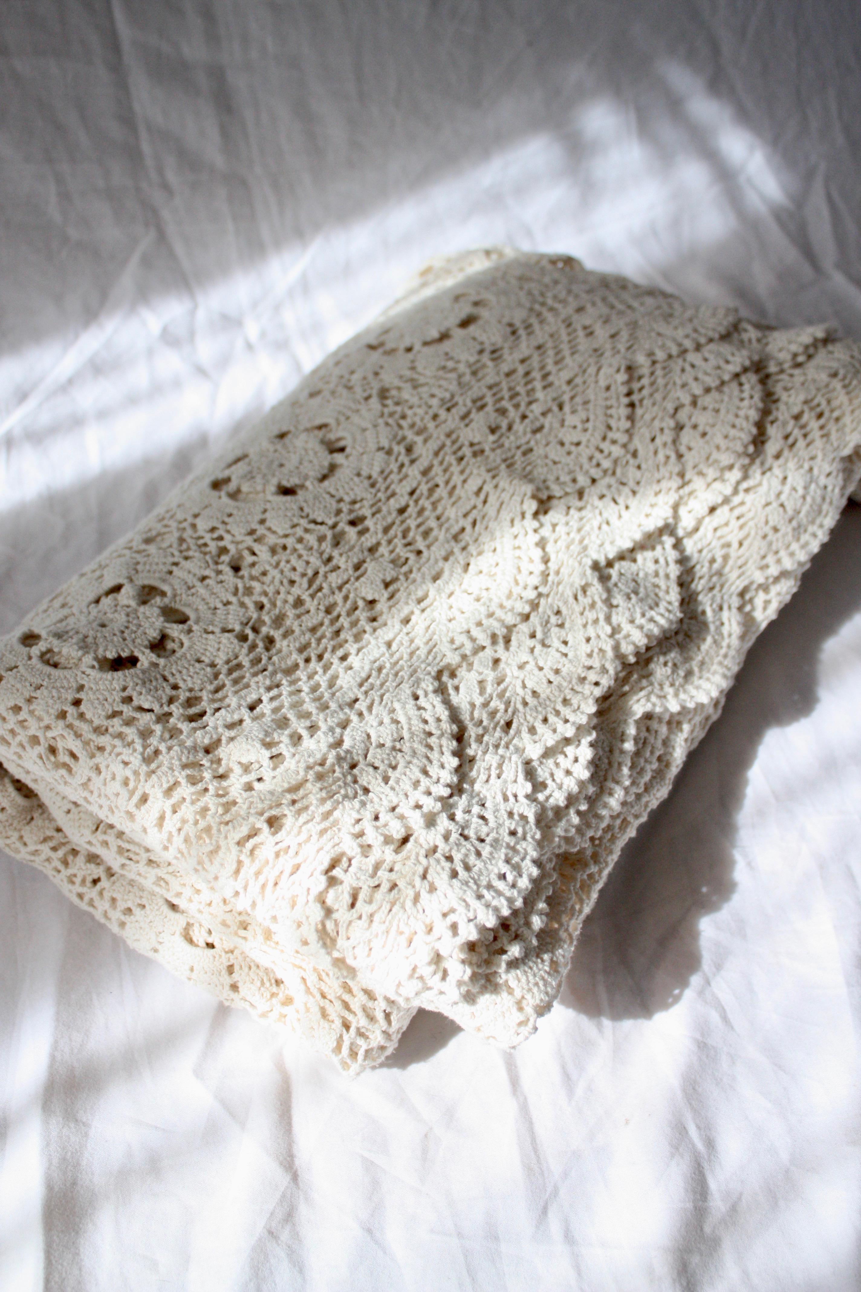 Vintage virkat överkast i bomull, 190x220 cm