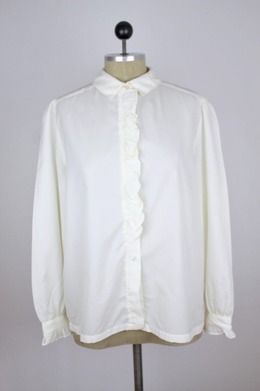 Vit skjorta/kråsblus Ann-Marie, stl S