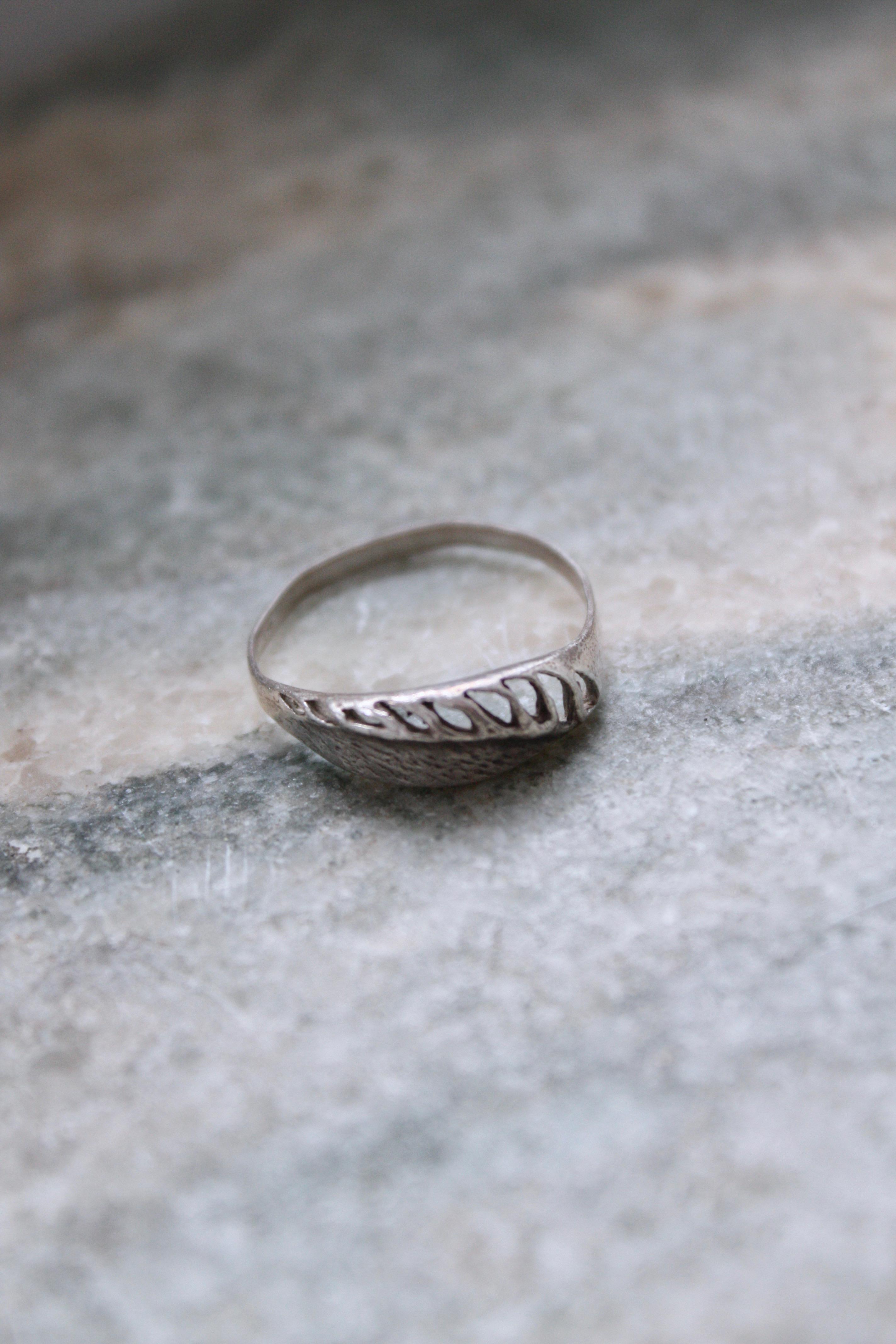Vintage handgjord silverring, M/70mm