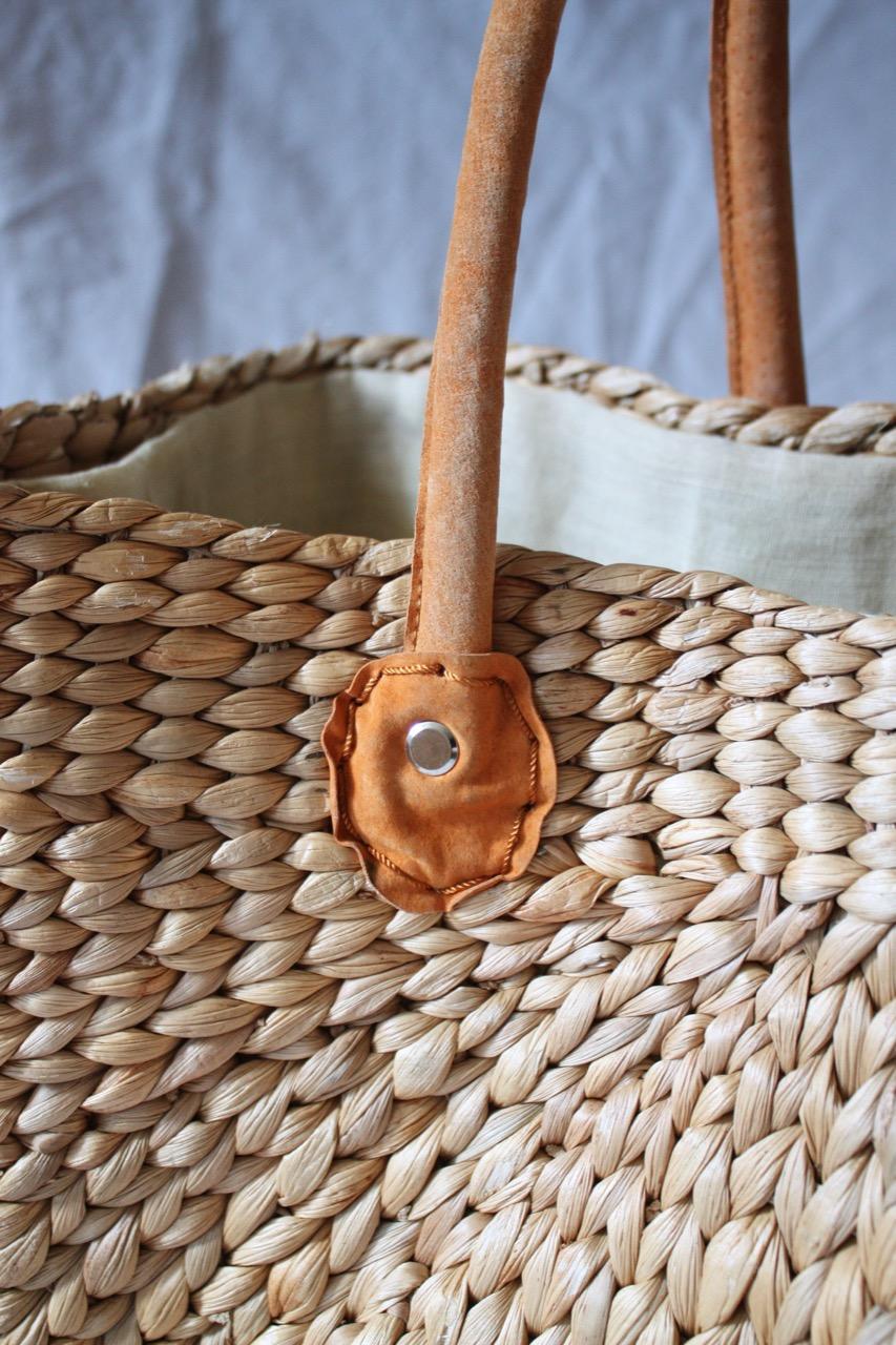 Vintage boho stor väska i halm